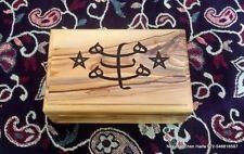 Baha'i Olive Wood Hand Made box with Bahai Ringstone Symbol made in Haifa 4.5'
