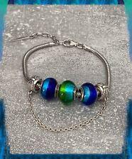 Bracelet CHARMS 3 Perles En Verre de Murano AUTHENTIQUE & Argent 925 Rhodié