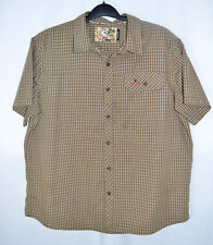 Mossy Oak Shirt SS Olive Green Check Button Front 1 Flap Pocket Men XL
