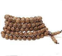 Tibetan Buddhist wrap around brown wooden bracelet necklace prayer worry beads