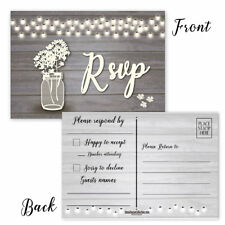 Wedding RSVP Reply Postcards - 50 Wedding & Party Reply Postcards -B17003