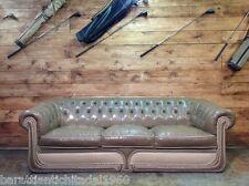 Divano Chesterfield 3 posti Vintage Originale Inglese in Pelle color Beige