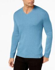 Calvin Klein Men Cotton Modal V-Neck Soft Sweater Sinai Heather Light Blue XL