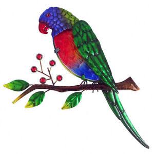 1pc Lorikeet Bird on Tree Branch Wall Art Metal/Glass Garden Décor