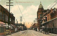 c1908 Litho Postcard; Ryan Street, Lake Charles LA Calcasieu Parish Horsedrawn
