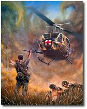 Dust Off by Joe Kline - UH-1H Huey Medevac Helicopter- Helicopter Art Print
