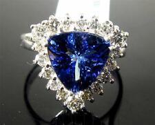 Engagement Women Ring 3.70 Trillion Cut Tanzanite Diamond 14K White Gold  VIDEO