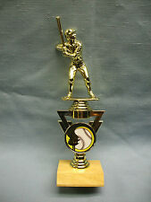 baseball award full color torch and ball insert trophy wood base