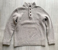 White Stuff Wool Blend Mens Jumper Button Up Size Large Grey Long Sleeve