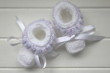 Hand Knitted // Baby Booties // Multi-White //Woollen // Made in Australia//Gift