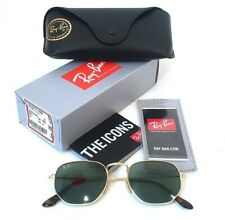Ray-Ban RB3548N 001 Hexagonal 51-21 Sunglasses Flash Lenses Green Classic Gold