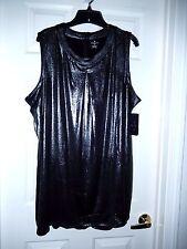 Elegant Worthington Blouse/Top-1X, black silver foil   Sexy sleeveless- WOW!