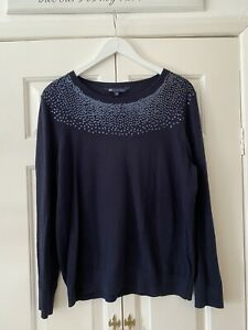 Crew Jumper UK 16 Blue Knit Top Sequin Winter Christmas Sparkly Smart Pretty
