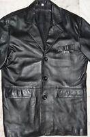 """MENS BLACK LEATHER JACKET COAT  MEDIUM  'TERRITORY CLOTHING' CHEST 42"""" - 44"""" UK"""
