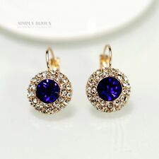 earrings Sleeper Golden Small Round Crystal Blue Sapphire Retro C6