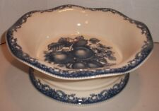 Pedestal COMPOTE Bowl w/ Fruit Design! New in Box! Flow Blue style Transfer Ware