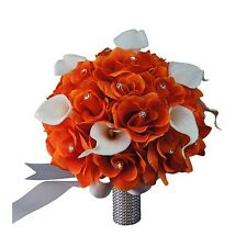 "10"" Bouquet - Orange Open Roses with Real Touch Calla Lily: Silver Ribbon"