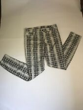 Seven 7 For All Mankind Gwenevere Plaid Print Skinny Jeans  White Black Size 26