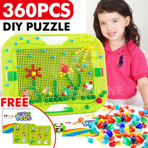 Kids Creative Children Puzzle Pegs Board 360 Educational Learning Toys DIY Gift