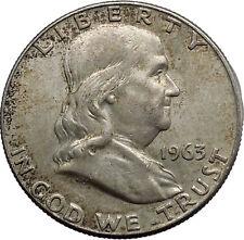 1963 Benjamin Franklin Silver Half Dollar United States Coin Liberty Bell i44586