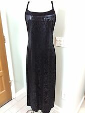 JOSEPH RIBKOFF Sz 10 Black Tiger Stripe Full Length Sleeveless Dress Velvet Trim