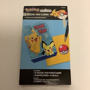 Pokemon Thank You Cards Package Of 8- Cards, Envelopes, Seals, NIP