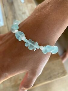 Sea Glass, Freshwater Pearl, Cat Eye Crystal and Sterling Silver Clasp Bracelet
