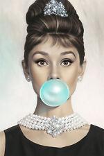 Large Framed Print - Audrey Hepburn Blowing a Big Blue Bubble Gum Bubble Picture