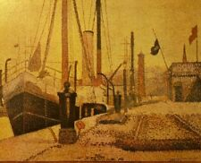 "Vintage Lithographic Print ""Harbour At Honfleur"" Georges Seurat 11"" X 14""  1950'"