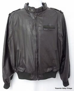 Members Only Jacket Mens Medium Brown Leather 48 VTG 1980s Fight Club Bomber
