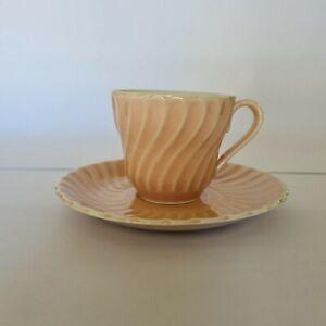 Vintage Superior Underglaze Tea Cup & Saucer Demitasse Duo Japan Pink Fluted
