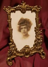 Fabulous Antique Victorian ROCOCO Brass Photo Frame w Easel 2.5 x 3.5