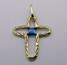 Solid 14k Yellow Gold  Fancy CROSS with Iolite Charm Pendant  3.6 gr