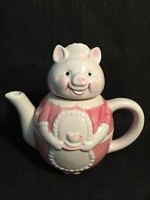 Mrs Pig Dressed In Pink French Maid Outfit Novelty Tea Pot