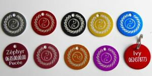 Medaille Ying Yang Graviert Für Tiere Hund Oder Katze - 8 Farben 25 Und 32 MM