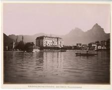 Suisse, Lac des Quatre-Cantons, Brunnen  vintage albumen print.  Tirage albumi