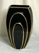 Fostoria elegant glass ebony black and gold art deco #2409 vase