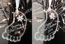 Personalised engraved Acrylic bauble baby foot decoration first  XMAS 2018