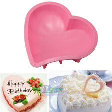 "Silicone 7.9"" Heart Cake Baking Pan Tray Nonstick Muffin Pizza Pie Mold Bakeware"