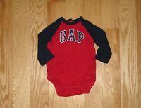 Boys BABY GAP Logo Red Bodysuit / Shirt Top Sz 3-6 Mos