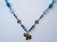 XXL Halskette,Metall,bronzefarben,Blautöne,Blaumix,türkis,gold,Blau,Elefant,59cm