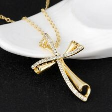 New Statement Gold Plated Cross Crucifix Necklace Pendent Jewellery Gift Bag