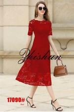 Floral Lace Midi Dress - Red