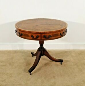 ANTIQUE Baker Furniture Company Parchment Leather Old World Mahogany Drum Table