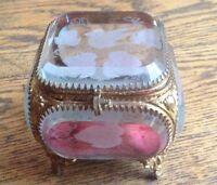 Vintage Etched Beveled Ormolu Casket Box Trinket Box Hinged