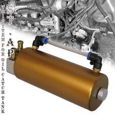 "Jdm Universal 6.25"" Round Aluminum 750Ml Oil Catch Can Reservoir Tank Kit Gold"