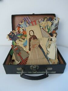 Antique Vintage Paper doll collection 1920's era dolls clothes original trunk