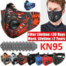 Washable Sports Face Mask Air Purifying Valves With Filter Pads Breathable