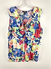 Chaps Women's Top 100% Cotton Floral Ruffle Neck Tank Bright Summer Spring Large