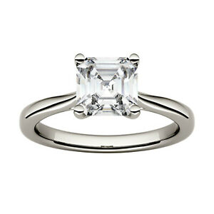 Moissanite by Charles & Colvard 6.5mm Asscher Solitaire Engagement Ring